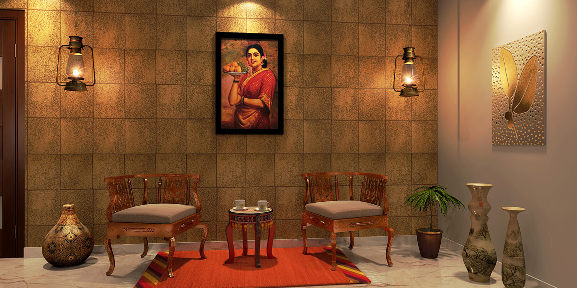 Indian ethnic living room designs online divaan e mudra for Indian ethnic living room designs
