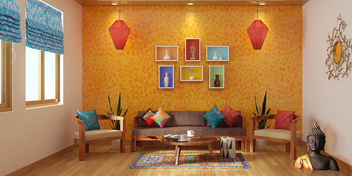 Indian ethnic living room designs online folk lore design Indian modern home design images