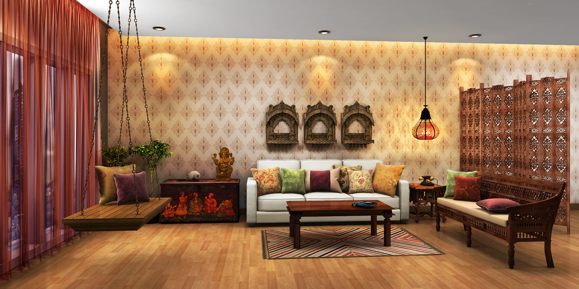 Indian ethnic living room designs online moghul times for Interior of indian living room