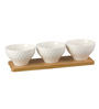 @ Home Ambrosia White Ceramic & Bamboo Bowl with Wooden Base - Set of 3