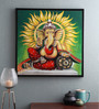 @ Home Canvas & Wood 33.5 x 1.6 x 33.5 Inch Ganpati Virajman Religious Framed Painting
