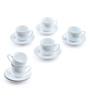 @ Home White Porcelain 130 ML Cup & Saucer - Set of 6
