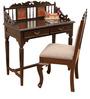 Teak Wood Writing Desk & Chair In Walnut Finish by ExclusiveLane