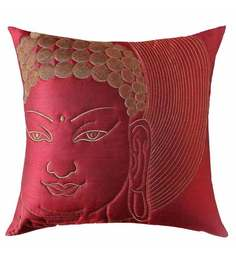 13 Odds Brown Silk 16 x 16 Inch Buddha Face Quilted Embroidered Cushion Cover