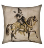 13 Odds Black & White Poly Taffeta 16 x 16 Inch Vintage Style Warrior on Horse Print with Gold Highlights Cushion Cover