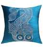 13 Odds Blue Silk 16 x 16 Inch Highly Stylised Fish Quilted Embroidered Cushion Cover