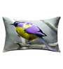 13 Odds Grey Poly Taffeta 12 x 18 Inch Bird Painting Printed in Pastel Shades Cushion Cover