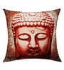 13 Odds Red & White Poly Taffeta 16 x 16 Inch Classic Buddha Face Print & Embroidery Cushion Cover