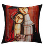 13 Odds Red Poly Taffeta 16 x 16 Inch Silent Magic Printed with Silver Embroidery Highlights Cushion Cover