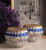 Gupta Glass Gallery Multicolour Glass Tea Light Holder - Set of 2