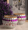 Gupta Glass Gallery Multicolour Glass Tea Light Holder - Set of 2