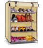 Pindia Cream 4-Layer Shoe Rack