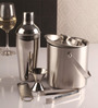 4 piece Bar set (large) - Cocktail shaker, Ice Tong, Ice bucket and Peg measure