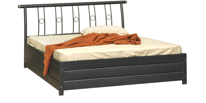 5010 Queen-Size Bed in Black Colour by Furniturekraft