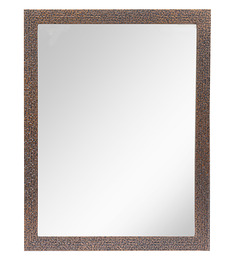 999Store Brown Fiber & Glass Framed Bathroom Mirror
