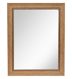 999Store Rustic Brown Fiber & Glass Framed Bathroom Wall Mirror