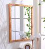 999Store Brown Wooden Handmade Decorative Flower Leaves  Mirror