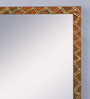 999Store Brown Wooden Handmade Decorative Zigzag Lines  Mirror