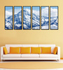 999Store Fibre 70 x 0.8 x 30 Inch Snow Covered Mountain Top Framed Art Panels - Set of 6