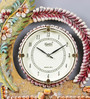 999Store Multicolour Wooden 12 x 0.4 x 14.5 Inch Royal Hand Made Antique Decorative Designer Leaf Flower Clock