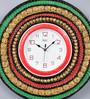 999Store Multicolour Wooden 16 Inch Round Royal Hand Made Antique Decorative Designer with Red Dial Clock