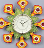 999Store Multicolour Wooden 18 Inch Round Royal Hand Made Antique Decorative Designer Flower Clock