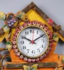 999Store Multicolour Wooden 6.8 x 0.5 x 20 Inch Royal Hand Crafted Antique Grapes Tree Clock