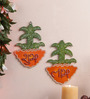 999Store Multicolour Wooden Handmade Diwali Flower Pot Shubh Labh Door Hanging - Set of 2