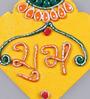 999Store Multicolour Wooden Handmade Diwali Katavrag Yellow Shubh Labh Door Hanging - Set of 2