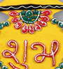 999Store Multicolour Wooden Handmade Diwali Yellow Shubh Labh Door Hanging - Set of 2