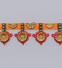 999Store Multicolour Wooden Handmade Golden Flower Bandanwar Toran