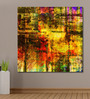 999Store Vinyl 48 x 0.4 x 48 Inch Abstract Grunge Golden with Colourful Blots Painting Unframed Digital Art Print