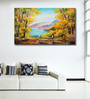 999Store Vinyl 60 x 0.4 x 36 Inch Abstract Colourful Autumn Forest Mountain Lake Painting Unframed Digital Art Print
