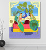 999Store Vinyl 60 x 0.4 x 72 Inch Lady with Peacock in Indian Painting Unframed Digital Art Print