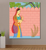 999Store Vinyl 60 x 0.4 x 72 Inch Queen with Her Parrot Painting Unframed Digital Art Print