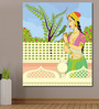 999Store Vinyl 60 x 0.4 x 72 Inch Queen with Parrot in Indian Painting Unframed Digital Art Print