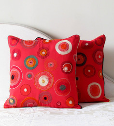 Aamori Red Cotton 16 x 16 Inch Banjara Embroidered Bubbles Cushion Cover