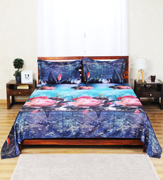 Aapno Rajasthan Blue Polyester Lotus Field Double Bed Sheet Set
