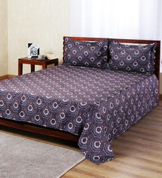 Aapno Rajasthan Brown Polyester Ethnic Double Bed Sheet Set