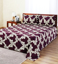 Aapno Rajasthan Maroon Polyester Ethnic Double Bed Sheet Set