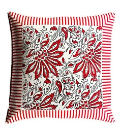 Aapno Rajasthan Red Cotton 16 x 16 Inch Cushion Covers - Set of 2