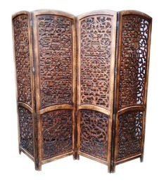 Aarsun Woods Brown Wooden Designer Hand Carved Partition Screen