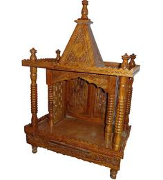 Aarsun Woods Brown Wooden Hand Carved Temple