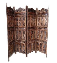 Aarsun Woods Brown Wooden Traditional Art Hand Carved Partition Screen