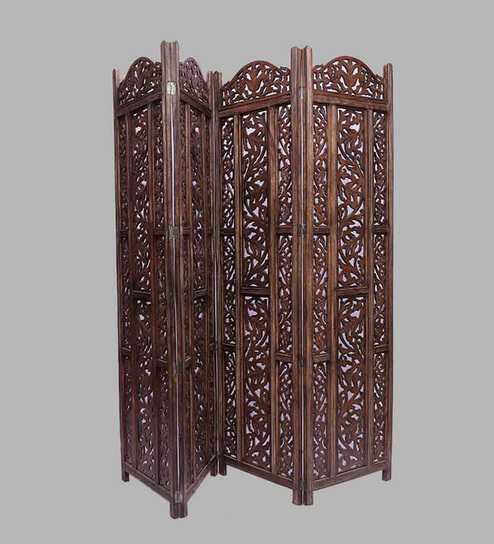 Aarsun Woods Brown MDF & Mango Wood Hand Crafted Partition Screen