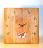 Aamori Brown Wooden 12 x 1.5 x 12 Inch Wall Clock
