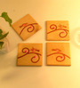 Aamori Pattachitra Hand Painted Yellow Bird Brown Wooden Coasters - Set of 4
