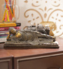 Aapno Rajasthan Brown & Gold Resin Awesome Resting Buddha Showpiece