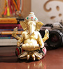 Aapno Rajasthan Gold Resin Beautiful Ganesha Idol with Dholak