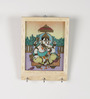 Aapno Rajasthan Multicolour Gemstone & Wood Key Hanger with Gemstone Accented Ganesh Painting